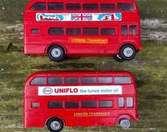 Double-Decker Bus Toys Corgi Matchbox British Vintage- Set of 2