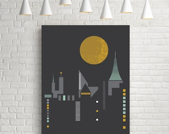 Giclee art print, city scape, urban art poster, vertical wall art, city art, urban print, giclee print, giclee poster, City skyline