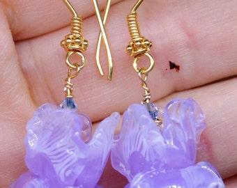 Lavender iris earrings