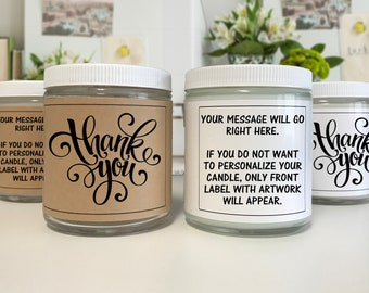 Thank You Candle - Thankful - Appreciation - Gratitude - Gift for Everyone - Personalized Candle - Thanks - Thank You Gift -