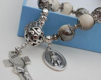 Saint Peregrine Catholic Decade Bracelet, Patron Saint of Cancer Patients, A Pocket Rosary with Silver Filgree beads, Irish Penal Crucifix,