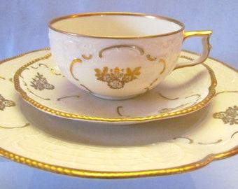 Rosenthal Sanssouci Gilded & Embossed Trio Cup Saucer Dessert Plate