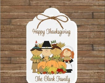 Personalized Thanksgiving Tags - Happy Thanksgiving Tags - Pilgrims and Indians