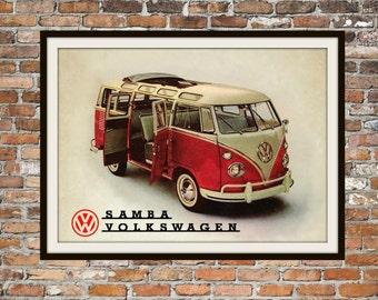 Volkswagen Bus VW Samba -  Rendition of Advertisement - Vintage Advertising - Vintage Volkswagen - Print Drawing Art Item 0125