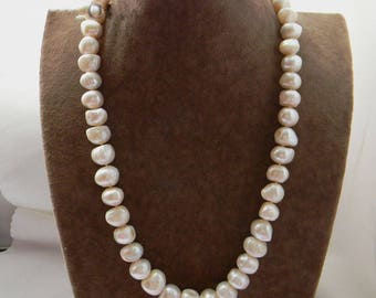 pearl necklace- big pearl necklace, baroque pearl necklace, white freshwater pearl necklace