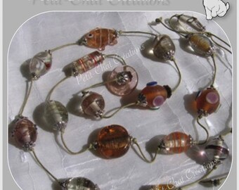 "LONG BEIGE PEACH THREAD GLASS BEADS LAMPWORK COLLECTION ""BOX OF CANDY"""