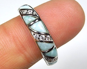 100/% Genuine AAA Dominican Larimar Inlay 925 Sterling Silver Band Ring size 6,7,8,9