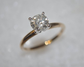 Diamond Engagement Ring Solitaire 14K Yellow & White Gold 1 One Carat H I2 Diamond