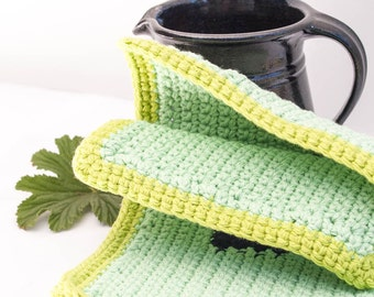 Crocheted pot holders   Playing The Blue Quads // spring green  crochet  ooak