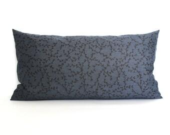 Lumbar Pillow Cover Blue Pillow Cover Vines Upholstery Fabric Decorative Pillow Oblong Throw Pillow Cover 12x24 12x21 12x18 12x16 10x20