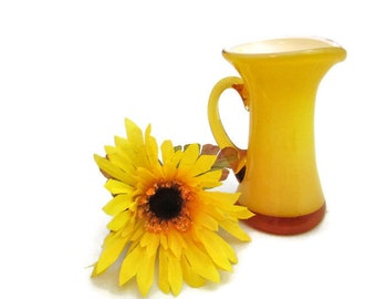 Opaque Yellow Glass Pitcher or Vase