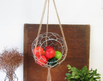 Large Wire Hanging Basket With Macrame Hanger In Distressed White