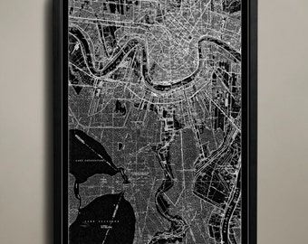 NEW ORLEANS Map Print, Black and White New Orleans Wall Art