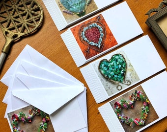 40 mini note cards with envelope, 10 each of 4 assorted Mandala Heart designs