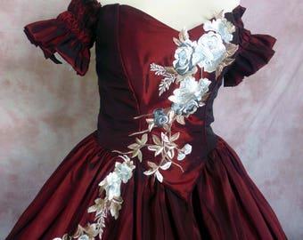 ATELIER COCON Biedermeier Western Rococo Crinoline Ball Gown Wedding Dress Burgundy