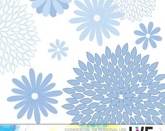 Blue Floral Clipart Daisies, Peony Clipart, Wedding Flowers, Blue Dahlias, Flower Petals Spring Clipart, Floral Clipart, Planner Clipart