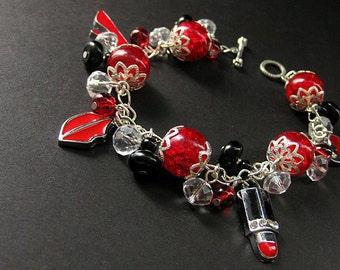 Red Charm Bracelet. Beaded Bracelet in Lipstick Red, Black and Silver. Date Night. Handmade Bracelet.
