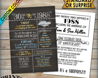 """30th Anniversary Invitation, Married in 1988 Flashback 30 Years Ago 1988 Invite, Chalkboard Style PRITNABLE 5x7"""" 30th Anniversary Invite"""