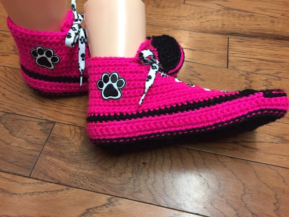 print shoes List sneakers 7 shoes Womens crochet sneaker slippers slippers 401 sneakers 9 paw tennis crocheted tennis paw print Crocheted UPxAXwq