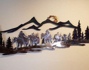 Elk Hunting Pack Mountain Scene Metal Wall Art Home Office Den Man Cave Trophy Room Decor
