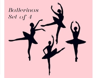 P0001 - Ballerina Silhouette Machine Embroidery Design Set Pack Bundle - Instant Digital Download - Dance, Ballet, Includes Minis