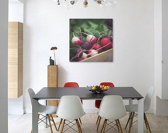 Canvas kitchen art rainbow radish pink green/Kitchen Decor/vegetables/large canvas wall art/food wall art/kitchen Art Rustic/canvas print