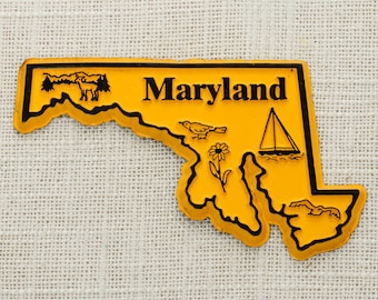 Maryland Vintage State Silhouette Magnet | Travel Tourism Summer Vacation Memento Yellow | Sailboat USA America Terrapins | Refrigerator 5S