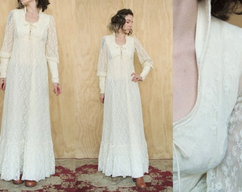 Gunne Sax White Lace Dress Wedding Boho Hippie Prarie Skirt Folk 70's Vintage Folky