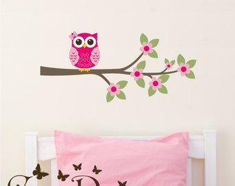 Owl on Branch with flowers -  Reusable Fabric decal, Removable, reusable and repositionable fabric decal