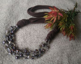 Earthy glass bead and t-shirt yarn necklace