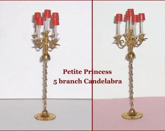 SPECIAL SALE   Five Branch Vintage Floor Candelabra   Dollhouse Furniture  Petite Princess