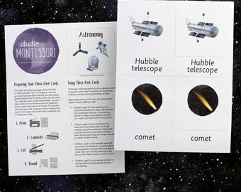 3-part cards: Astronomy (printable PDF)
