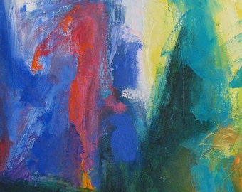 Fissure ABSTRACT painting 20 x 34 magenta aqua yellow blue
