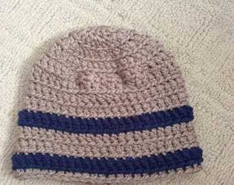 Tan and Navy Beanie hat