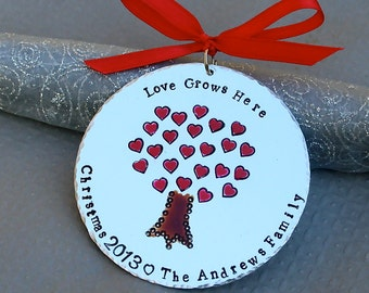 Love Grows Here Personalized Original Artwork - Hand Forged/Hand Stamped Hard Anodized Aluminum Christmas Ornament -