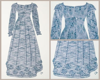 Jane Austen Regency dress. Fashion illustration gift for her. Original embroidered cut paper wall art. Pride & Prejudice Lizzie Bennet dress