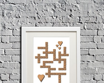 Personalised word tile print Scrabble style