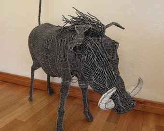 African Beaded Wire Animal Sculpture - WARTHOG X-LARGE - Gray
