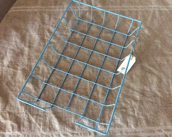 Fabulous VINTAGE sky blue wire coated basket / tray. Industrial decor. Great storage.