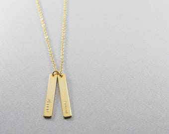 Personalized Name Bar Necklace | Mothers Day Gift | Vertical Bar | Gift for Her & Friends | Graduation Gift | Roman Numeral | Coordinate