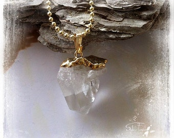 Crystal Quartz Point Necklace 18K Gold plated - OOAK - Dream