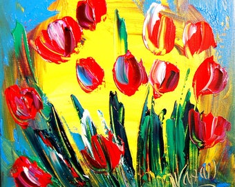 TULIPS Textured original  painting by Mark Kazav on stretched canvas Canadian modern abstract painting