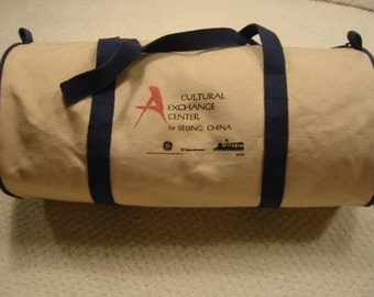 vintage heavy canvas roll bag . . . . gently used . . .  Cultural Exchange Center for Beijing, China