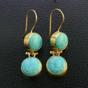 Turkmen Adornment Turquoise stones Gold Color Dangle & Drop Earrings Belly Dance