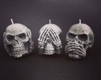 handmade soy tea light candles the three wise dead mini skull set