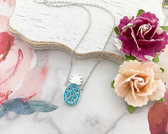 Silver/Turquoise Pineapple Dainty Necklace