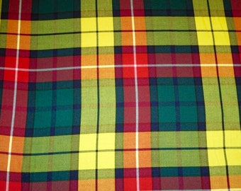 Modern Tartan Buchanan Fabric By Yard~Yellow Red Green Plaid Fabric~Suiting Kilt Jacket Fabric Highland Games Buchanan Fabric @ sohoskirts