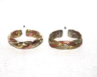 Copper ring, Brass ring, Spiral Ring, Tribal Ring, Gypsy Ring, Adjustable ring, yoga ring, meditation ring, Tibetan ring, Nepal ring AR13