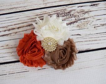 Handcrafted Ivory Dark Orange and Light Brown Shabby Rose Hair Clip - Fall Flower Hair Clip - Autumn Alligator Hair Clip - Stocking Stuffer