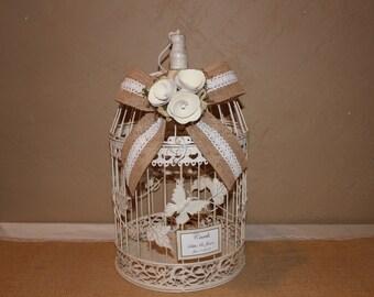 Wedding Birdcage Cardholder / Ivory Wedding Birdcage / Wedding Cardholder